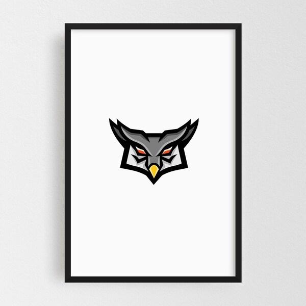 Noir Gallery Angry Horned Owl Head Front Mascot Framed Art Print