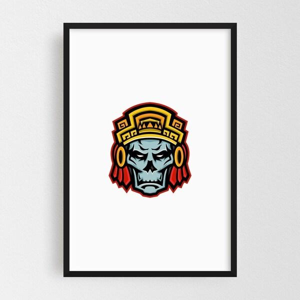 Noir Gallery Aztec Warrior Skull Mascot Framed Art Print