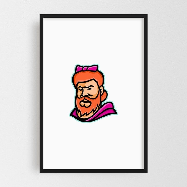 Noir Gallery Bearded Lady Mascot Framed Art Print
