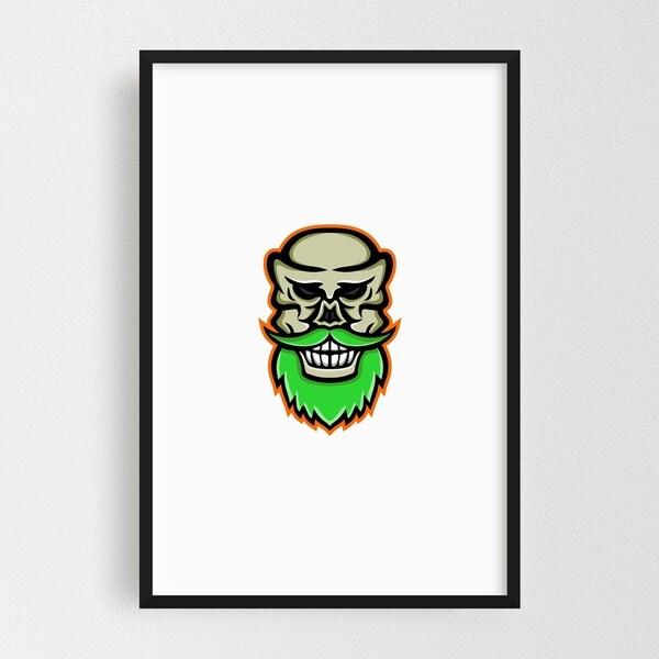 Noir Gallery Bearded Skull or Cranium Mascot Framed Art Print