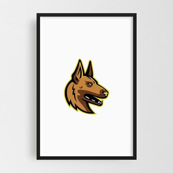 Noir Gallery Belgian Malinois Dog Mascot Framed Art Print