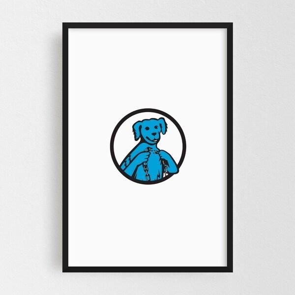 Noir Gallery Blue Merle Dog Holding Broken Chain Framed Art Print