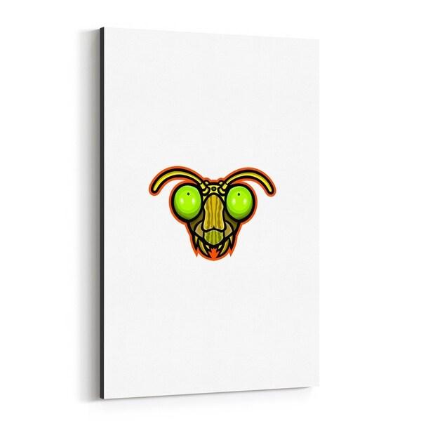 Noir Gallery Praying Mantis Head Mascot Canvas Wall Art Print