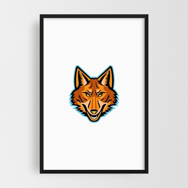 Noir Gallery Coyote Head Front Mascot Framed Art Print