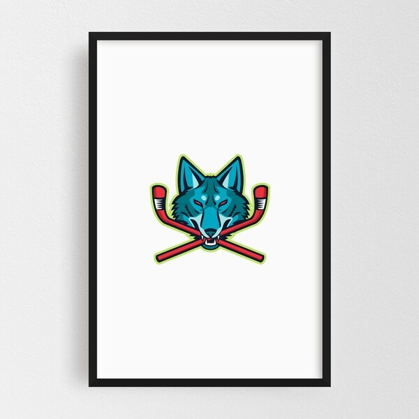 Noir Gallery Coyote Ice Hockey Sports Mascot Framed Art Print