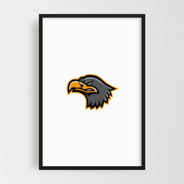 Noir Gallery Eurasian Sea Eagle Head Mascot Framed Art Print
