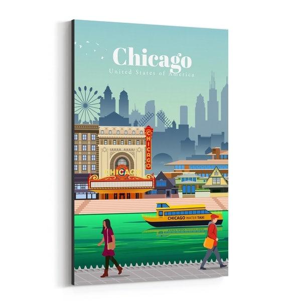 Noir Gallery Chicago Illinois Skyline Travel Canvas Wall Art Print