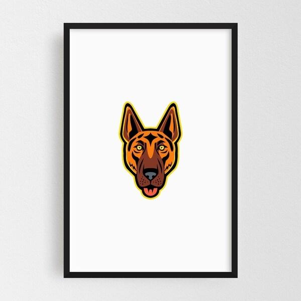Noir Gallery German Shepherd Dog Head Front Mascot Framed Art Print