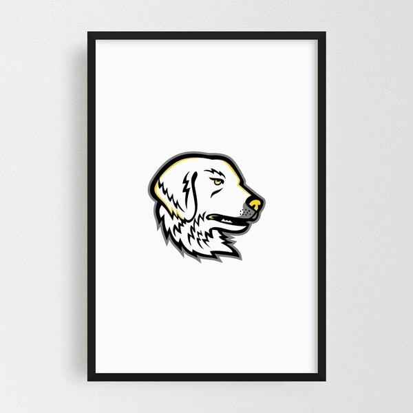 Noir Gallery Great Pyrenees Dog Mascot Framed Art Print
