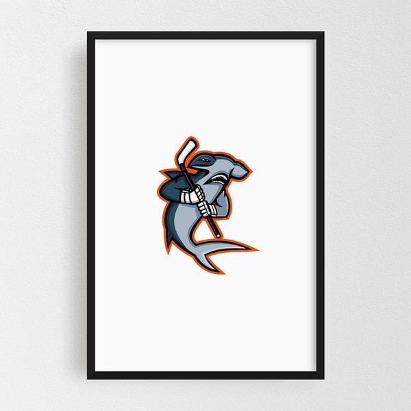 Noir Gallery Hammerhead Ice Hockey Player Mascot Framed Art Print