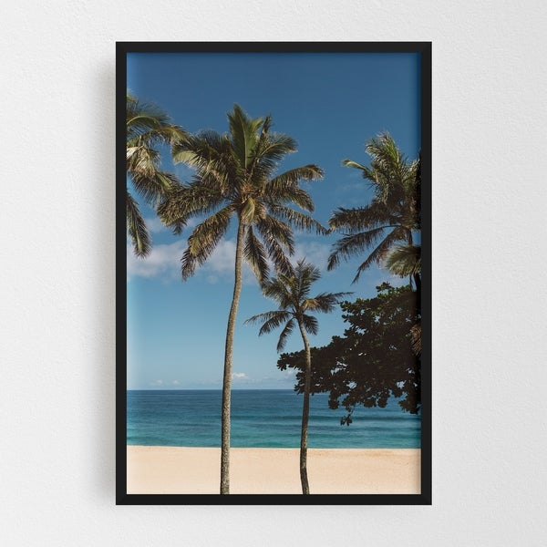 Noir Gallery Oahu Hawaii Beach Palm Tree Photo Framed Art Print