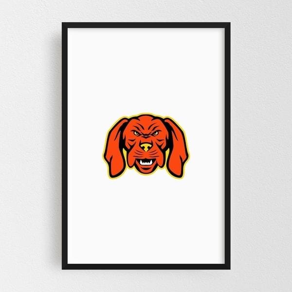 Noir Gallery Hungarian Vizsla Dog Mascot Angry Framed Art Print