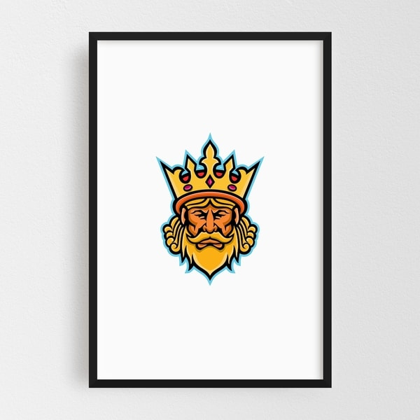 Noir Gallery King With Crown Mascot Framed Art Print
