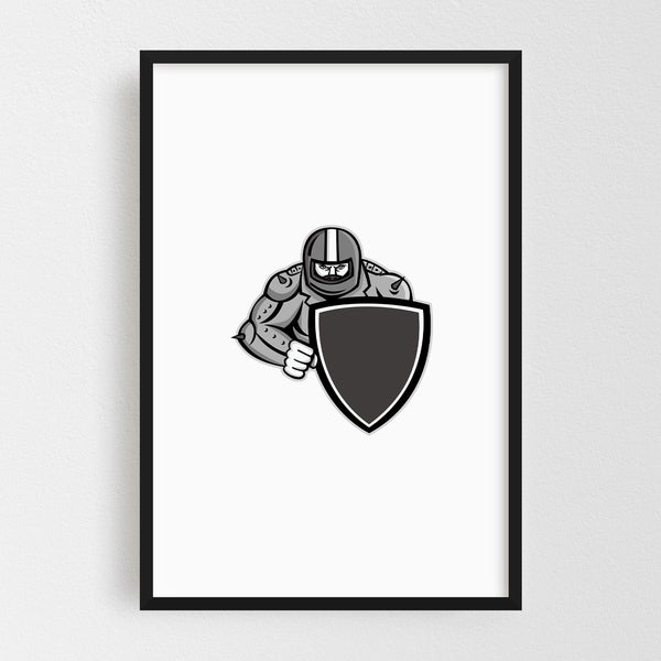 Noir Gallery Motorcycle Biker With Shield Mascot Framed Art Print