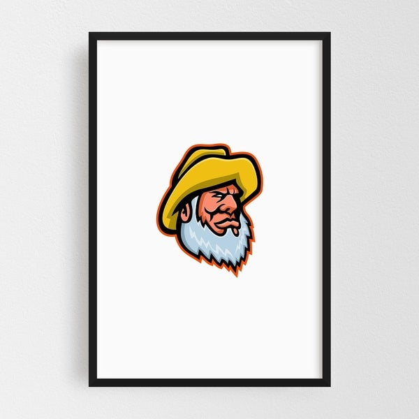 Noir Gallery Old Fisherman or Fisher Mascot Framed Art Print