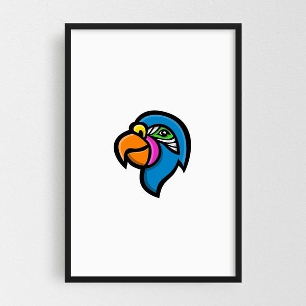 Noir Gallery Parrot Head Mascot Framed Art Print