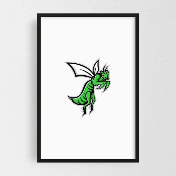 Noir Gallery Praying Mantis Mascot Framed Art Print