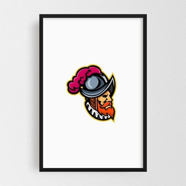 Noir Gallery Spanish Conquistador Head Mascot Framed Art Print