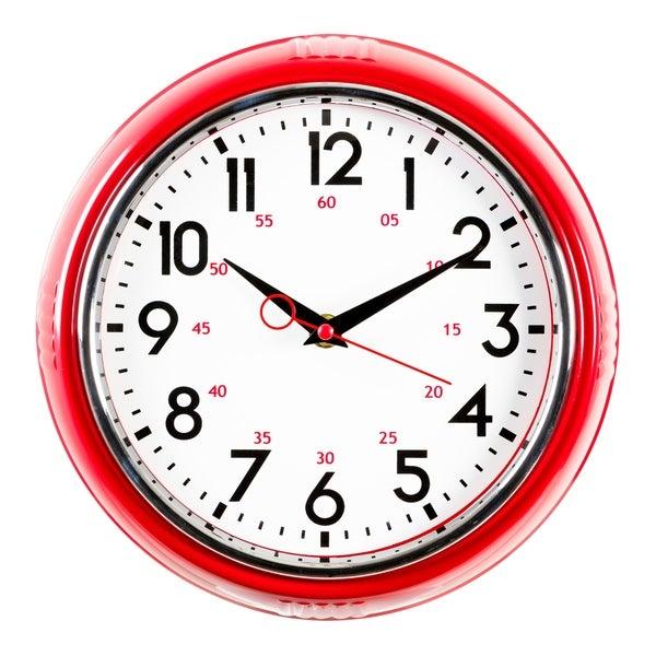kieragrace KG Retro Wall Clock, Red