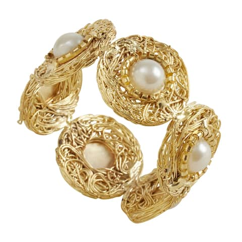 Beaded Napkin Rings with Pearl Design (Set of 4)