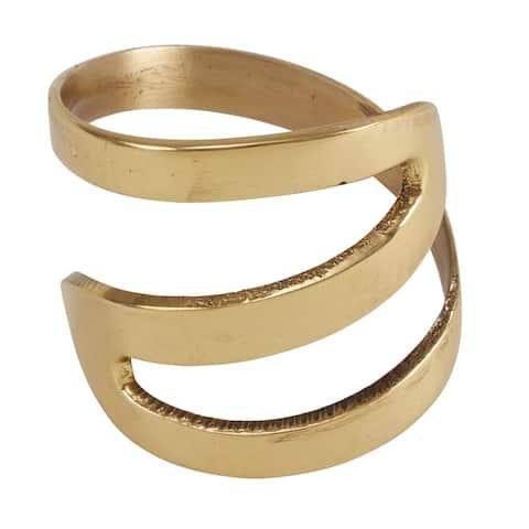 Zig Zag Design Metal Napkin Rings (Set of 4)