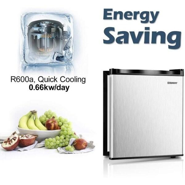 Euhomy Compact Upright Freezer Energy Star 1.1 Cubic Feet Single door countertop mini freezer with Reversible Stainless Steel Door.