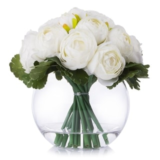 Enova Home Cream Artificial Ranunculus Flower Arrangement in Clear Glass Vase With Faux Water - N/A