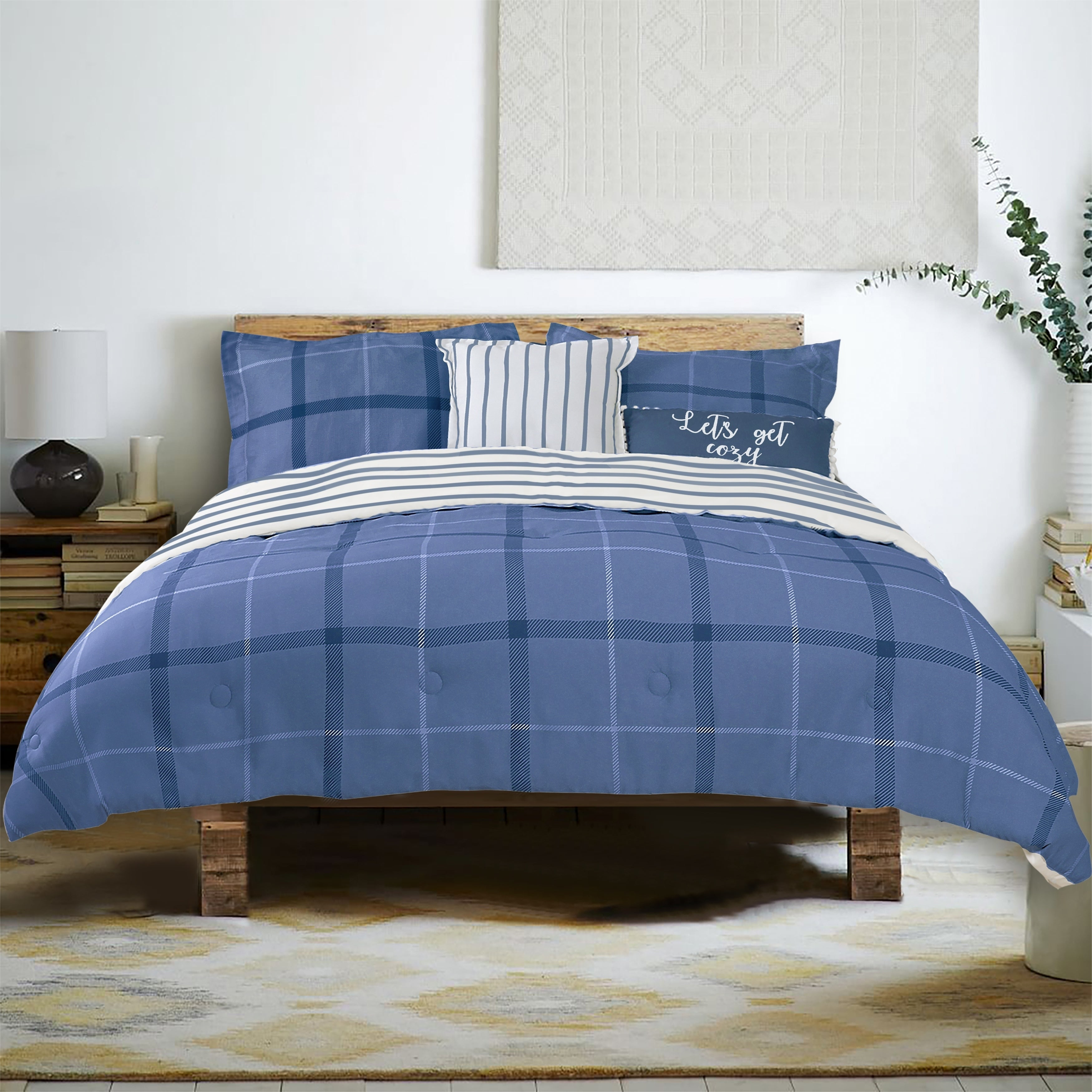Farmhouse Living Brand Plaid 5 Piece Cotton Comforter Set 1 Comforter 2 Shams 2 Accent Pillows Three Color Choices Overstock 29774919