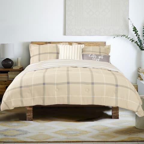 Farmhouse Living Brand Plaid 5 Piece Cotton Comforter Set - 1 Comforter, 2 Shams, 2 Accent Pillows, three color choices