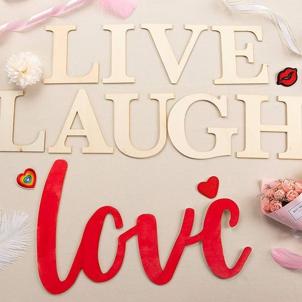 Live Laugh Love Sign, Unfinished Wood Letters Cutout Inspirational Quotes  Décor