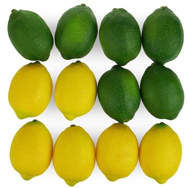Set of 12 Large Artificial Lemons Limes, Plastic Fake Prop Fruit Decoration