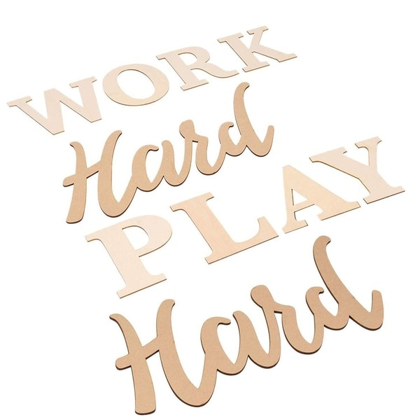 Work Hard Play Hard Sign, Unfinished Wood Cutout Inspirational Quotes Wall Décor