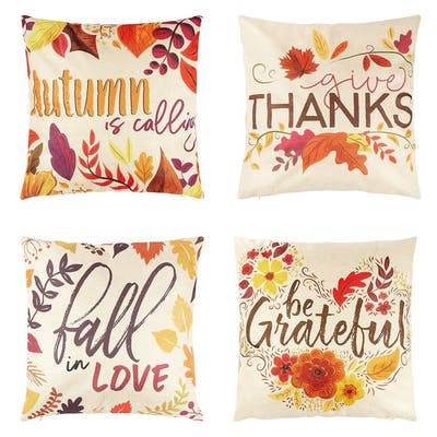 4 Thanksgiving Throw Pillow Covers, Country Style Home Decor, 18 x 18 Pillows
