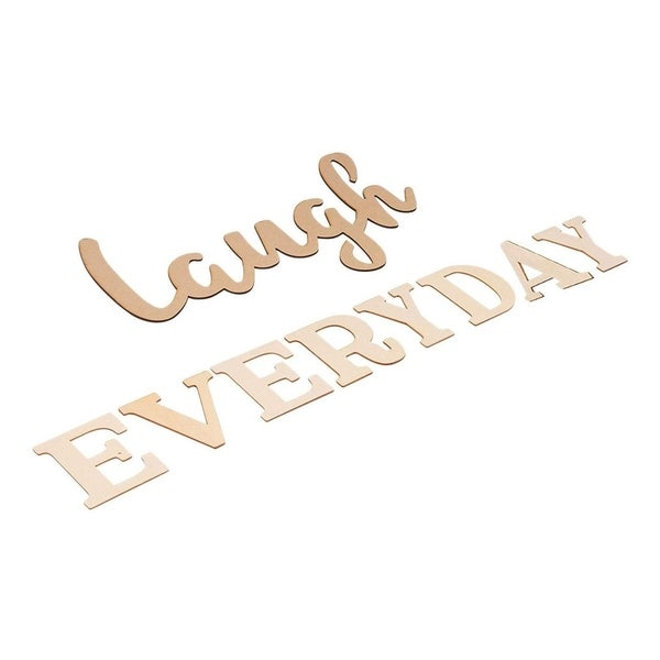 Laugh Everyday, Unfinished Wood Letters Cutout Inspirational Quotes Wall Décor