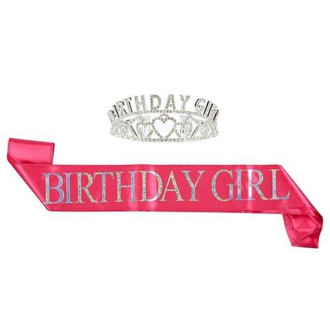 2-Pack Set Birthday Girl Tiara Birthday Sash Rhinestone Crown Birthday Girl Sash