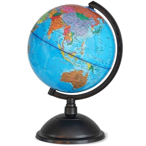 """Spinning World Globe for Kids - 8"""" Globe of the World for Geography Students. Opens flyout."""