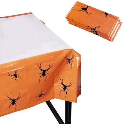 """3 Rectangle Plastic Tablecloths, Halloween Party Supplies Scary Spiders 54""""x108"""""""