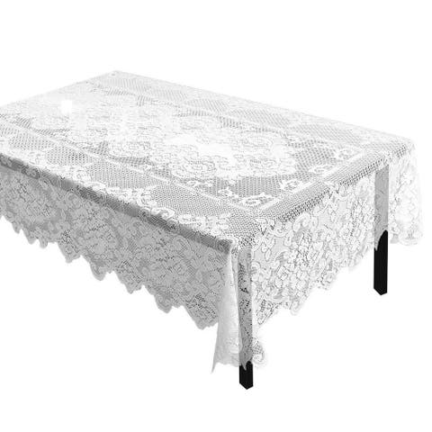 """White Lace Rectangular Tablecloth Elegant Floral Table Cloth for Parties 60""""x97"""""""