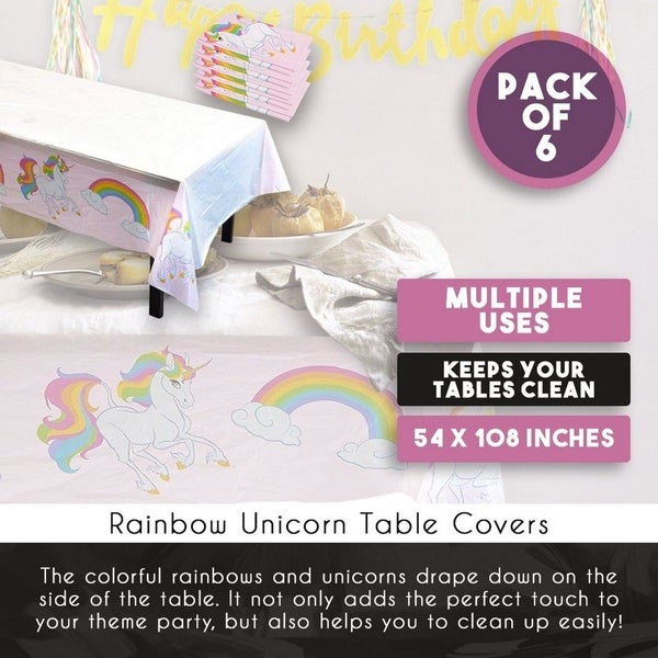 "6pcs 54"" x 108"" Unicorn Disposable Plastic Tablecloths Covers Birthday Party"
