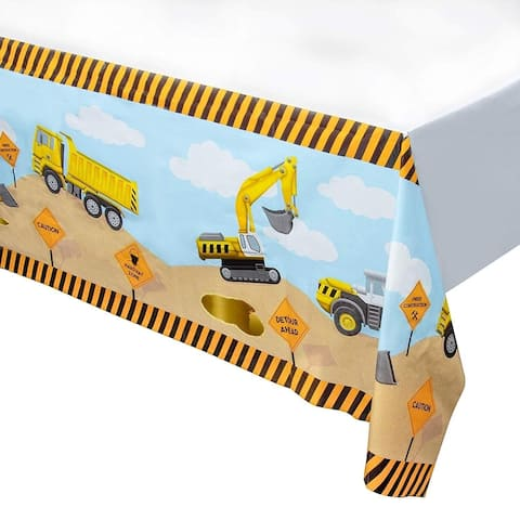 """3pcs 54 x 108"""" Construction Disposable Plastic Covers Tablecloths Birthday Party"""