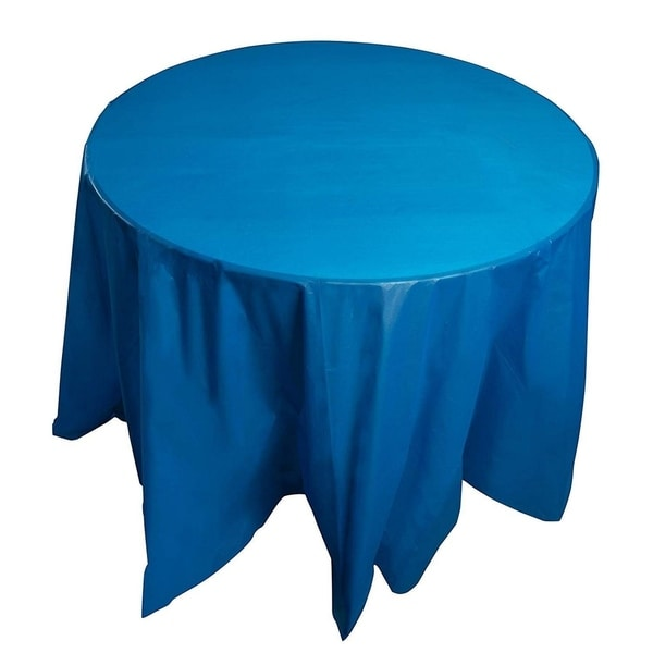 """12-Pack 84"""" Disposable Plastic Round Tablecloth Table Covers Party Supplies Blue"""