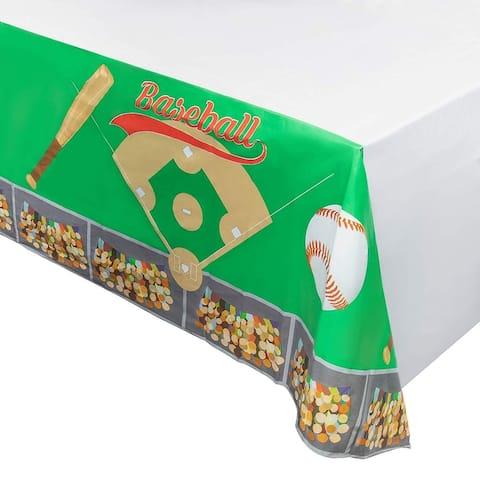 "6pcs 54"" x 108"" Disposable Plastic Table Covers Tablecloths Baseball Party Decor"