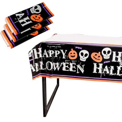 "3 Rectangle Plastic Tablecloths, Happy Halloween Party Supplies Pumpkin 54""x108"""