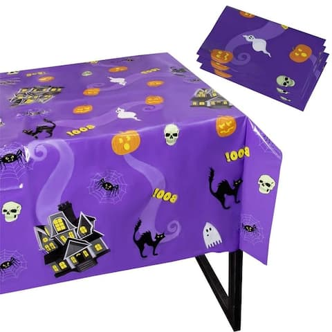 """3-Pack Plastic Tablecloth Haunted House Halloween Party Supplies Decor 54 x 108"""""""