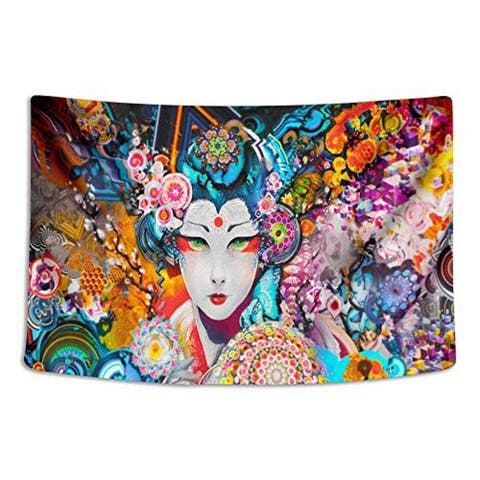 """Colorful Japanese Woman Tapestry 60"""" x 90"""""""