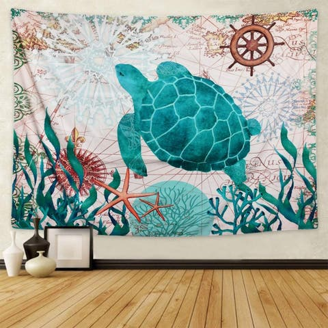 """Sea Creatures Turtle Tapestry 82.7"""" x 59.1"""""""