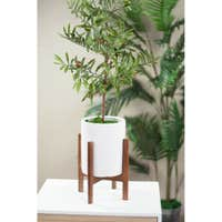 Mid-Century Desktop Planter 6-in White with Wood Stand