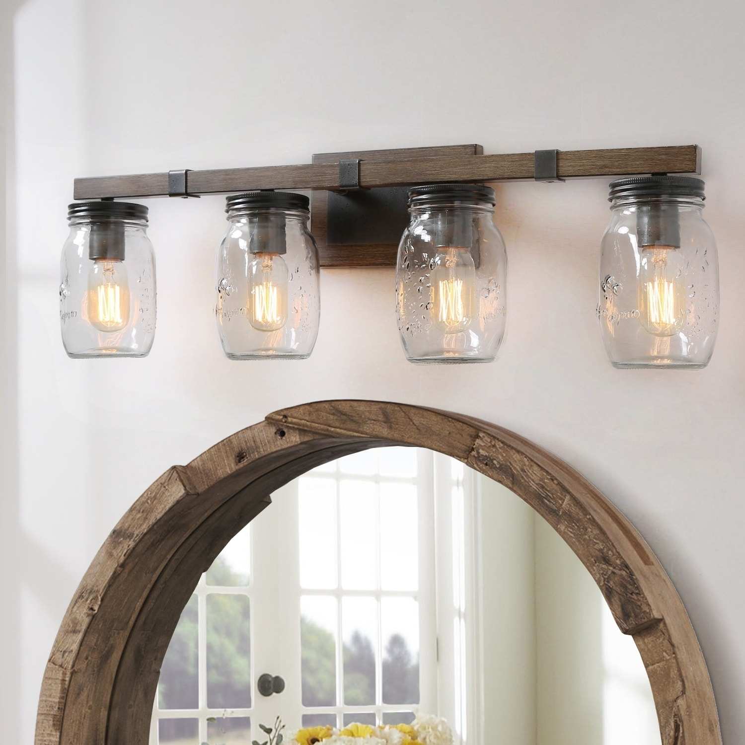 Shop Rustic 4 Lights Wall Sconce With Glass Shade Bathroom Lighting W29 Xh9 Xe6 Overstock 29775373