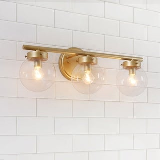 """Link to Mid-Century 3-lights Bath/Vanity Light Glass Lighting for Powder Room - L19.5""""x W6""""x H7.5"""" Similar Items in Sconces"""