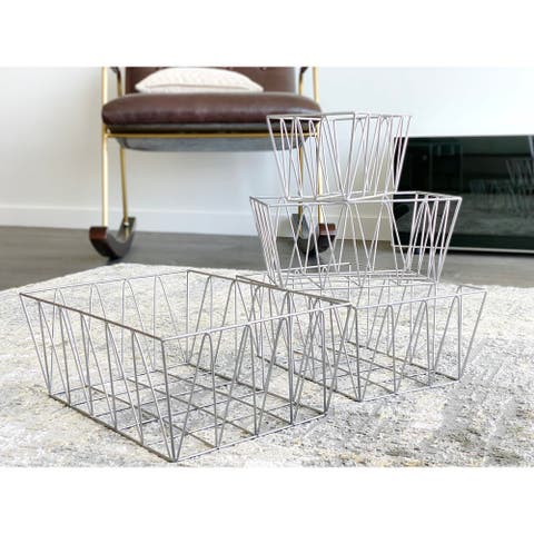 The Curated Nomad Lassen Handmade Metal Nested Geometric Baskets (Set of 4)